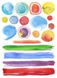Inzameling van de elementenachtergrond van het waterverfhand geschilderde ontwerp Stock Afbeelding