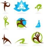 Inzameling van de emblemen van yogamensen, vectorpictogrammen stock illustratie