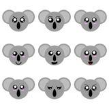 Inzameling van de Gezichten van de Beeldverhaalkoala op witte achtergrond worden geïsoleerd die Verschillende Emoties, Uitdrukkin vector illustratie