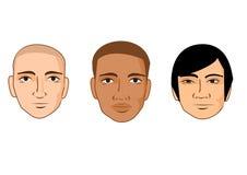 Inzameling van de gezichten van de beeldverhaalmens van verschillende rassen Stock Fotografie