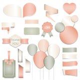 Inzameling van de giftmarkeringen van de Valentijnskaartendag, stickers en etikettenmalplaatjes en moderne mooie vakantieelemente Stock Afbeelding