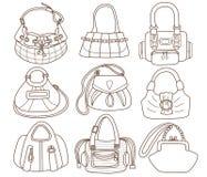 Inzameling van de handtassen van modieuze vrouwen stock illustratie