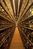 Inzameling van de het bierfles van de wereld de grootste bij Carlsberg-museum brewe Stock Fotografie