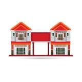 Inzameling van de huis in de stad de vectorillustratie woon Stock Afbeeldingen