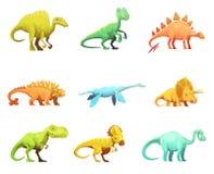 Inzameling van de Karakterspictogrammen van het Dinosaurus Retro Beeldverhaal Royalty-vrije Stock Fotografie