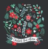 Inzameling van de Kerstmis de bloemendecoratie Reeks van verschillende bloemen, bladeren en bes Kleurrijke vectorontwerpelementen stock illustratie