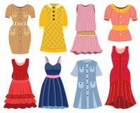 Inzameling van de kleding van modieuze vrouwen stock illustratie