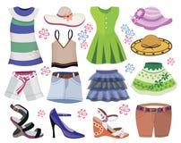 Inzameling van de kleding van vrouwen stock illustratie