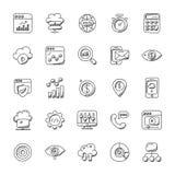 Inzameling van de Krabbelpictogrammen van Seo en Marketing vector illustratie