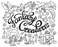 Inzameling van de kunsten van de fantasiekrabbel en het van letters voorzien stock illustratie
