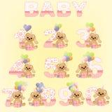 Inzameling van de leuke cijfers van de babyverjaardag Stock Foto