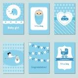 Inzameling van de leuke Kaart van de Babyjongen Royalty-vrije Stock Afbeeldingen