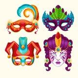 Inzameling van de maskers van beeldverhaalcarnaval met veren en bergkristallen worden verfraaid dat Stock Foto