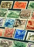 Inzameling van de oude Poolse postzegels stock afbeelding