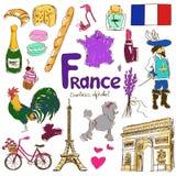 Inzameling van de pictogrammen van Frankrijk Stock Afbeelding