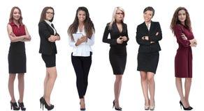 Inzameling van de portretten van gemiddelde lengte van jonge bedrijfsvrouwen stock foto's