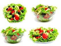 Inzameling van de salade geïsoleerde van de foto's verse groente stock foto's