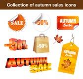 Inzameling van de Stickers van de Verkoop van de Herfst vector illustratie