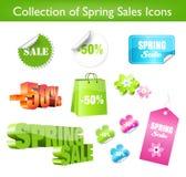 Inzameling van de Stickers van de Verkoop van de Lente royalty-vrije illustratie