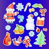 Inzameling van de stickers van Kerstmis Stock Afbeeldingen