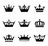 Inzameling van de symbolen van het kroonsilhouet, winnaarconcept stock illustratie
