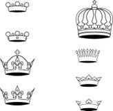 Inzameling van de symbolen van het kroonsilhouet Stock Foto