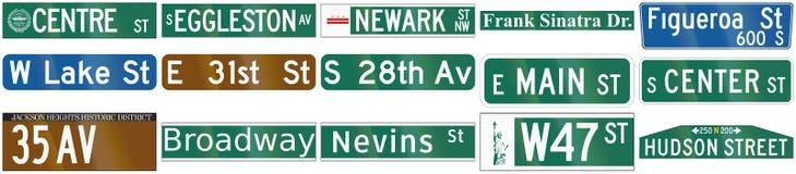 Inzameling van de tekens van de straatnaam in de V.S. worden gebruikt die stock illustratie