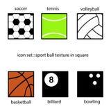 Inzameling van de textuur van sportballen in vierkante vectorillustratie Stock Foto