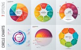 Inzameling van de vector infographic malplaatjes van de cirkelgrafiek Stock Fotografie