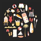 Inzameling van de vector vlakke pictogrammen van de de zomerlijn Royalty-vrije Stock Afbeelding