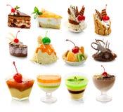 Inzameling van delicous dessert op wit Royalty-vrije Stock Afbeeldingen