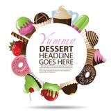 Inzameling van Desserts om Achtergrond Royalty-vrije Stock Fotografie