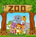 Inzameling van dierentuindieren met gids stock illustratie
