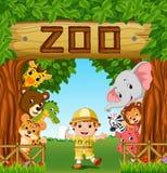 Inzameling van dierentuindieren met gids vector illustratie