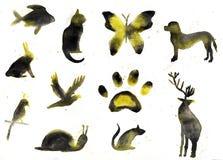 Inzameling van dierlijke silhouetten, waterverf Stock Fotografie