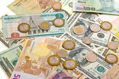 Inzameling van divers geld aan achtergrond Stock Foto's