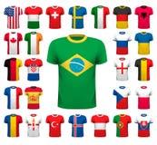 Inzameling van divers voetbal jerseys Nationaal overhemdsontwerp Stock Fotografie