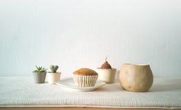 Inzameling van diverse ingemaakte installaties van het cactushuis, cupcake met een kop van koffie - beeld royalty-vrije stock fotografie