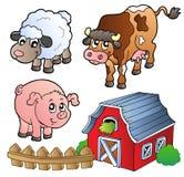 Inzameling van diverse landbouwbedrijfdieren Stock Foto's