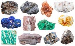 Inzameling van diverse minerale rotsen en stenen Royalty-vrije Stock Afbeeldingen