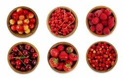 Inzameling van diverse rode bessen Aardbeien, rode aalbessen, kersen, frambozen Stock Afbeelding
