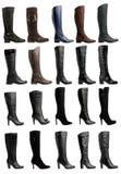Inzameling van diverse types van knie hoge laarzen Stock Afbeeldingen