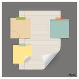 Inzameling van diverse uitstekende documenten (document bladen, notadocument), royalty-vrije stock afbeelding