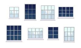 Inzameling van diverse venstersamenstellingen Stock Foto's