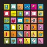 Inzameling van diverse vlakke pictogrammen Stock Afbeelding