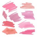 Inzameling van diverse Vlekken naakte lippenstift op witte achtergrond Vectortellersetiket Stock Fotografie