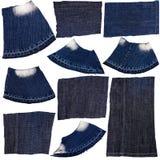 Inzameling van donkerblauwe piecies van de jeansstof Royalty-vrije Stock Afbeelding