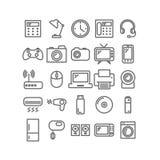 Inzameling van dunne lineaire pictogrammen Huishouden en bureautoestellen Royalty-vrije Stock Afbeeldingen