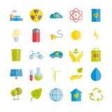 Inzameling van ecologie en milieubescherming vector vlakke pictogrammen Stock Fotografie