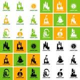 Inzameling van ecologische emblemen op het onderwerp van afvalverwerking en schone productie vector illustratie